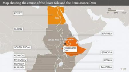 Map of Nile River, Egypt and the Grand Ethiopian Renaissance Dam Project