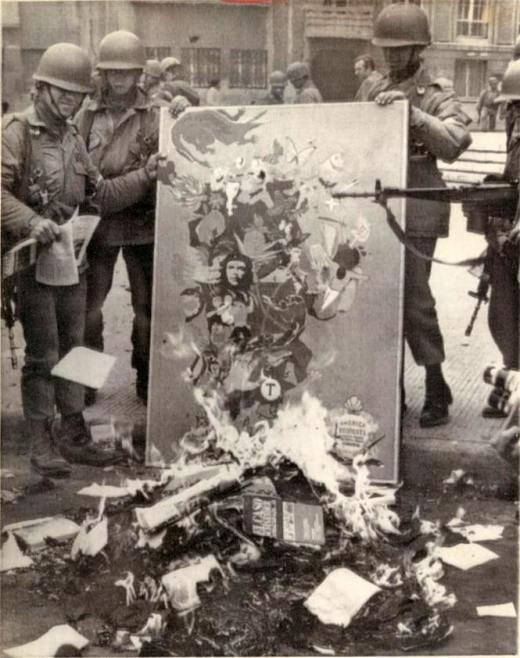 Book burning in Chile 1973