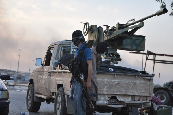 ISIL fighter by truck