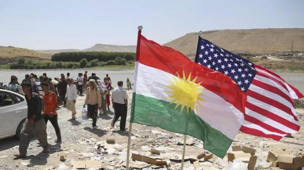 american and kurdish flags