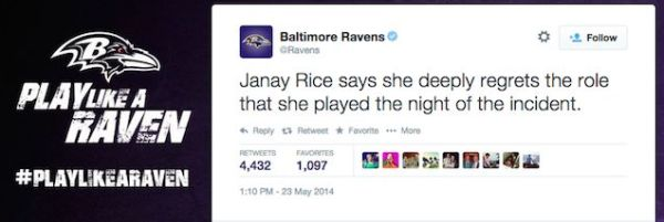janay rice takes blame live tweet