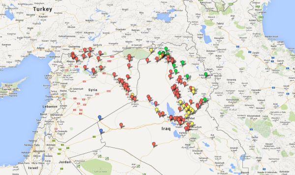 syrian and iraqi land currently controlled by islamic state and allies