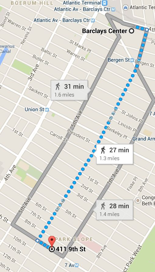 distance between park slope and barclay's center