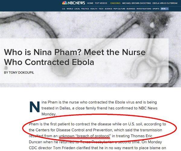 nbc news article about dallas nurse not following ebola protection protocols