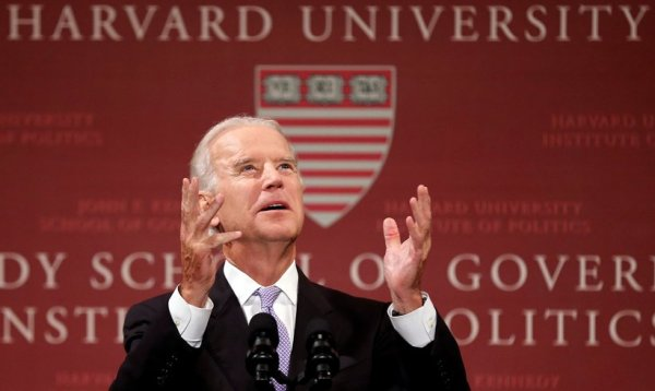 us vp joe biden speaks at harvard kennedy school of government about syria civil war, apologizes later to turkey and united arab emirates