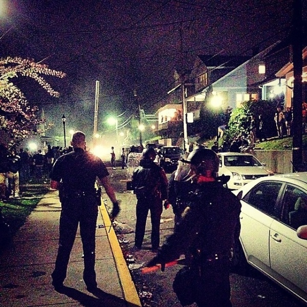 instagram photo of riot police at morgantown west virginia