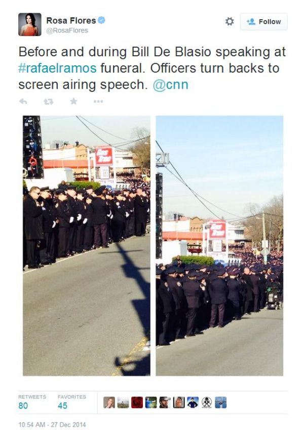 nypd cops turn backs on deblasio during rafael ramos funeral