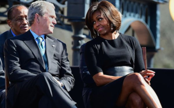 former us president george w bush and first lady michelle obama at selma 50 event on saturday