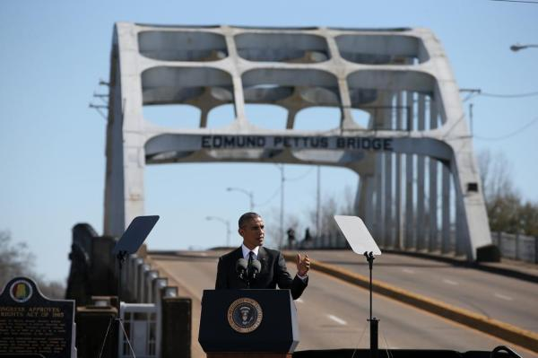 President Barack Obama on the Edmund Pettus Bridge in Selma Alabama for bloody sunday 50th anniversary