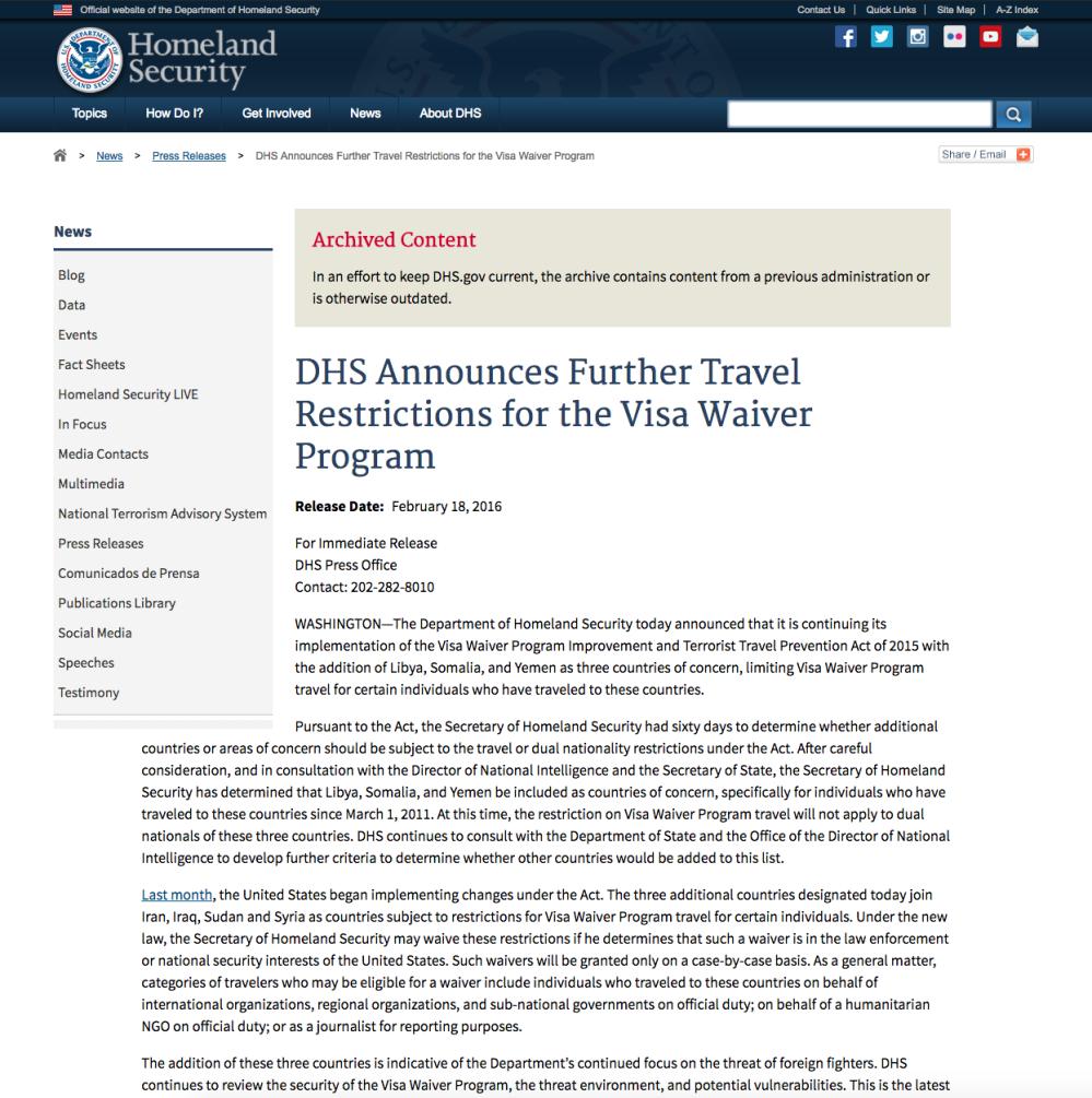 Visa Waiver Program Improvement and Terrorist Travel Prevention Act of 2015