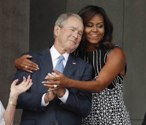 George W. Bush and Michelle Obama