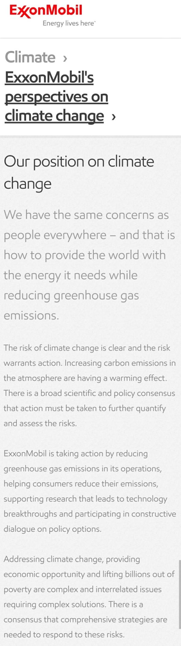 exxonmobil climate change
