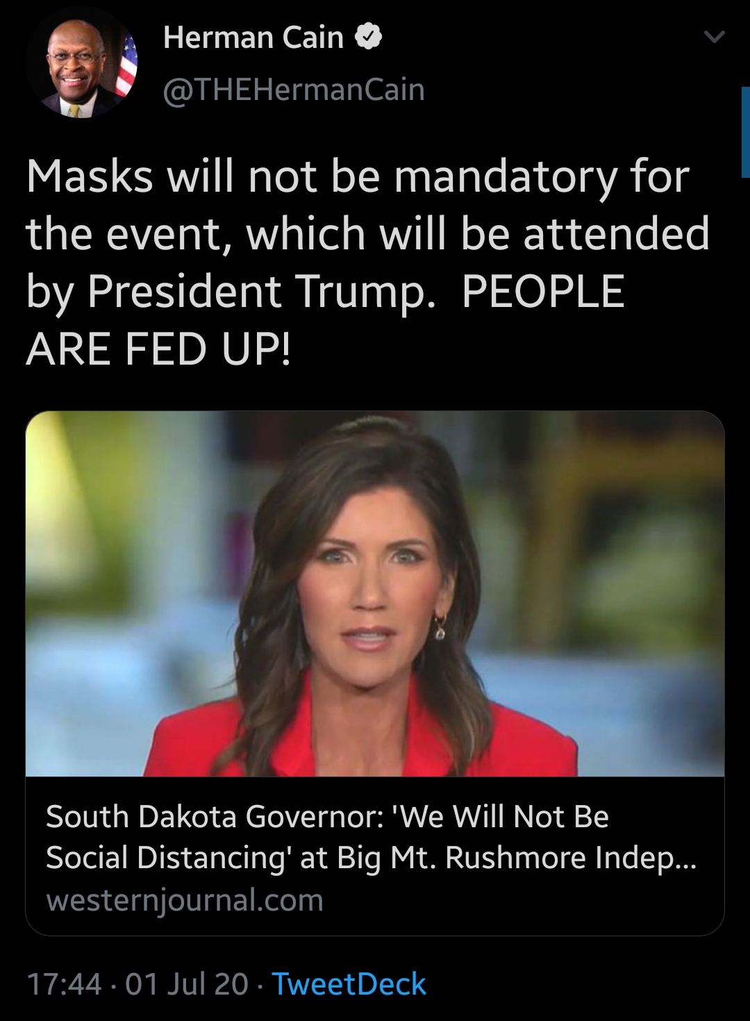 South Dakota Governor said there will be optional mask requirements and no social distancing at the fireworks display at Mount Rushmore.