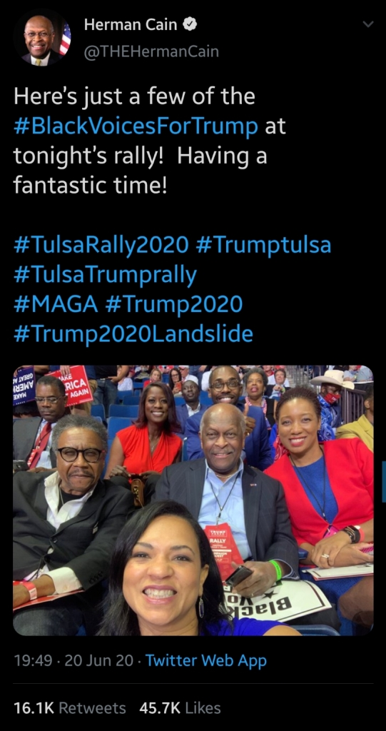 Herman Cain at the Trump Tulsa, Oklahoma rally on Saturday, Jun 20, 2020. posted to mentalunrest.com
