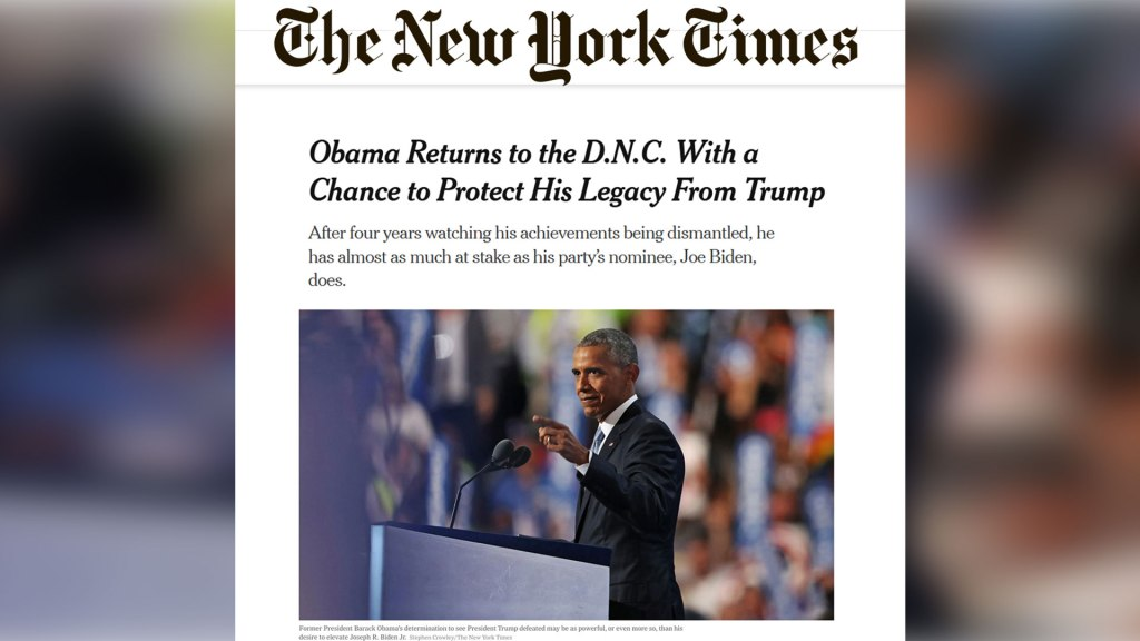 "New York Times article by peter baker titled ""Obama Returns to the D.N.C. With a Chance to Protect His Legacy From Trump"