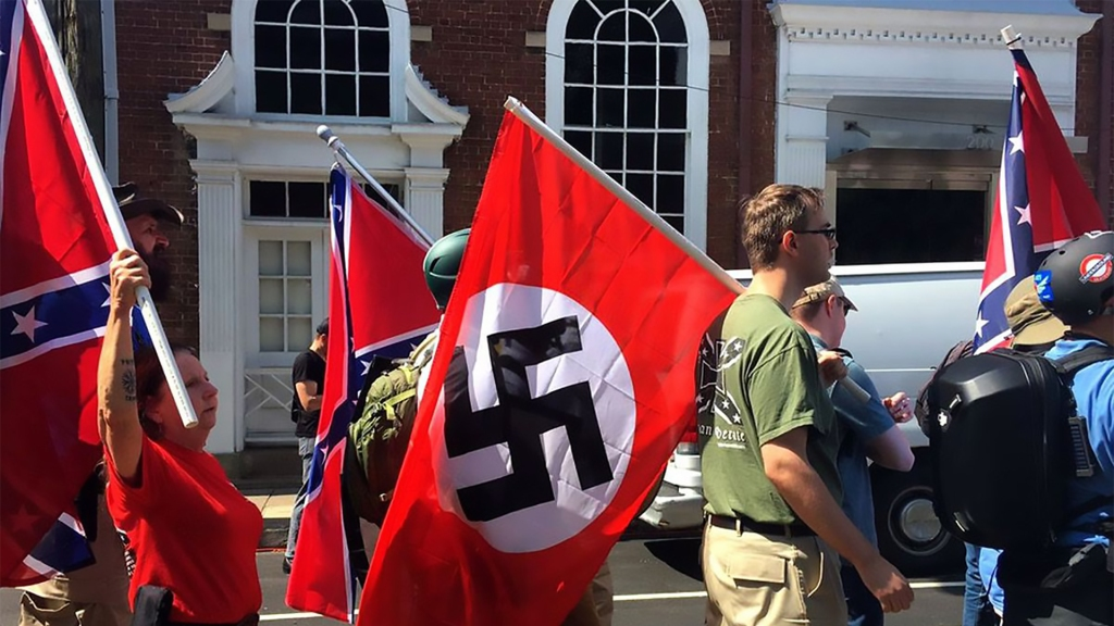 neo-nazis marching through charlottesville, virginia