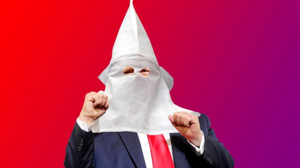 donald trump with ku klux klan hood