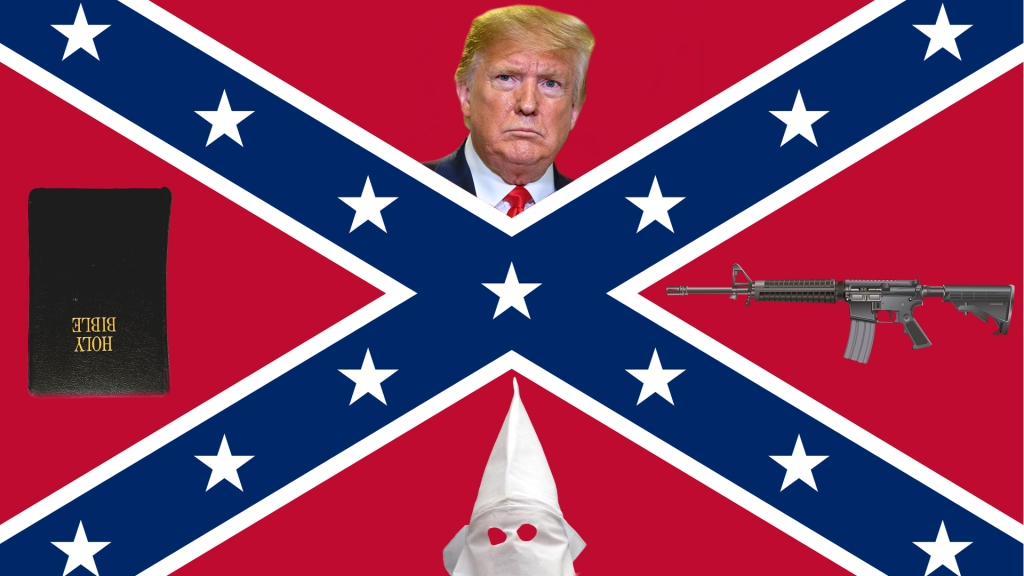 confederate battle flag with president donald trump, ar-15 assault rifle, upside-down bible and ku klux clan hood. image is for mental unrest blog